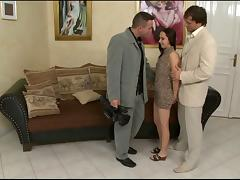 Alesya gets naughty with two studs in hardcore MMF clip