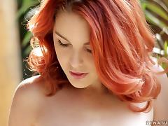 redhead horny babe masturbates wistfully outdoor in solo model scene