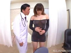 Japanese babe in nylon gives blowjob and rubs cock between her tits tube porn video