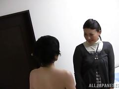 Smart-looking Asian milf pleases a dude with a hot blowjob