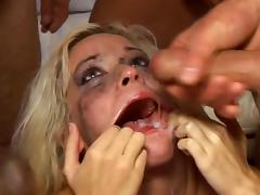 Blonde slut Kissy in a rough blowbang video DTD