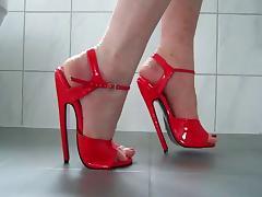 Bending 7 inch thin heels fetish sandals