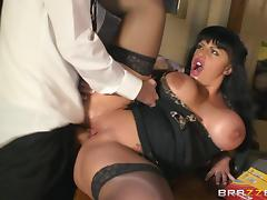 brunette with fake tits screwed doggystyle and orgasms