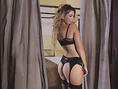 Anika Shay displays erotic beauty and hot body in nylons and thong