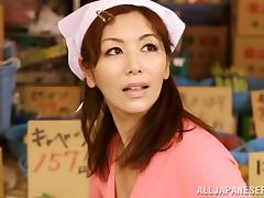 Pretty Japanese girl sheds her thong then gets fingered