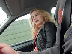 Immaculate blonde cowgirl yelling as she gets fucked in the car