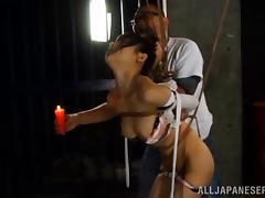Naughty hot ass chick Erina Fujisaki gets tied up and tortured for bondage sex