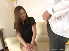 Busty Asian dame unpinning her miniskirt then getting screwed hardcore in reality casting