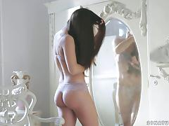 Compassionate beautiful babes with long hair moaning while fingering her pussy