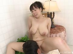 Japanese cowgirl sucks cock in the bathroom and big tits fucked