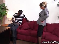 Nasturally busty blonde milf enjoys interracial rear pounding