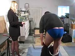 Guy gets punished and caned by female boss porn tube video