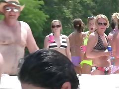 Fantastic amateurs in sexy bikinis and glasses posing seductively at a party outdoor on a yacht tube porn video