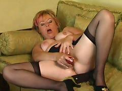 Filthy granny Shirley strips naked