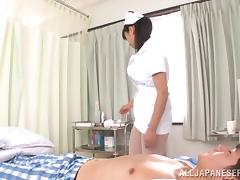 Sexy Asian nurse in nylons gives head job and gets pussy licked