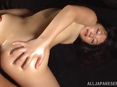 Asian bitch gets hairy cunt fucked with toys and cock after oiling skin