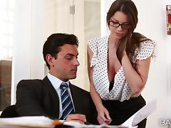 Brooklyn Chase seduces her boss and fucks him in his office