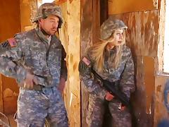 Blonde babe in military uniform gets fucked hardcore by her colleague tube porn video