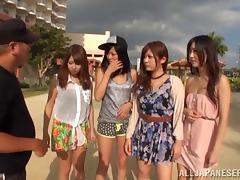 Naughty Japanese girls get their pussies nailed in hardcore group sex porn tube video
