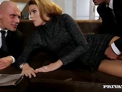 Hot blowjob scene with a naughty porn hottie Samantha Joons in fuck threesome
