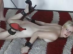 Tied up young german blonde fucked and facialized tube porn video