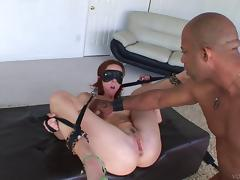 Endearing babes in bondage moaning while her anal is pounded hardcore in bdsm sex