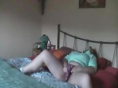 My mum masturbating on bed caught by hidden cam