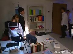 Pigtail wearing Asian babe gets gangbanged in the office