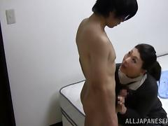Nasty mature gets down on a younger hunk for a blowjob