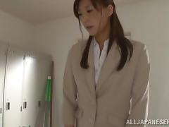 Hot Japanese MILF gives a blowjob in a locker room and swallows