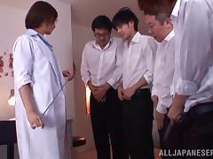 Nanami Kawakam masturbates in front of many men and gets facialed