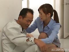 Japanese teacher in miniskirt gives great blowjob on POV clip