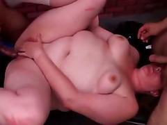 Redheaded BBW Adrienne slammed at the gym