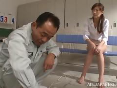 Japanese teacher gets her pussy inserted toy in the locker room