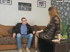 Long-haired gal wearing stockings gets her vag fucked remarcably well