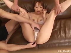 Enchanting Asian dame with natural tits in panties getting the pleasure of toy