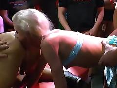 Extreme Lucie with piercings cumshot gangbang