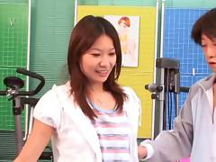 A personal trainer lays the pipe to his hot Asian client