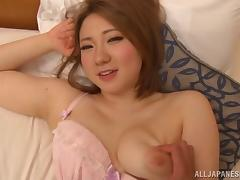 While riding his cock this Asian girl gets her clit toyed