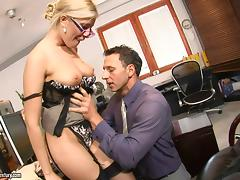 A hot cougar gets pounded hard all over the office