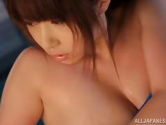 Chubby Asian girl with big tits teases her pussy outdoors by the pool