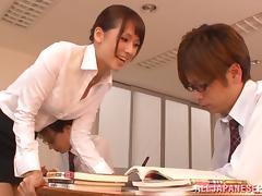 Teacher, Asian, Blowjob, College, Fingering, Group