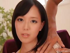 Elegant Japanese cowgirl with natural tits getting feasted using vibrator in mmf sex