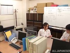 Accepting Asian teen moaning while her hairy pussy is banged hardcore doggystyle in the office