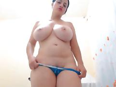Busty BBW strips and toys