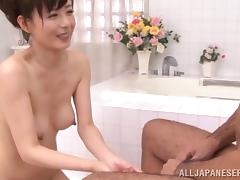 Attractive Asian dame with hot ass getting her hairy pussy fingered immensely porn tube video