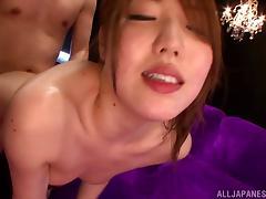 Rina Uchimura enjoys ardent gangbang sex and cum on her tongue