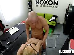 Hot blonde sucks and gets fucked in the office