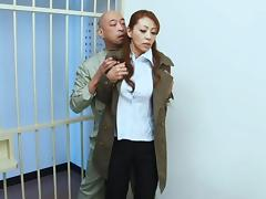 Sanae Asou hot mature Asian babe in police costume fucks behind bars tube porn video