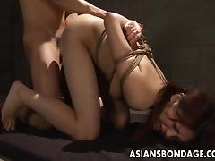Tied up Japanese cutie stuffed with a thick hard cock